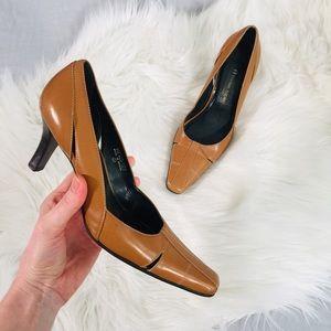 Etienne Aigner Camel Tan Leather Heels | 7.5